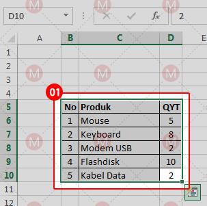 Membuat chart pada Excel