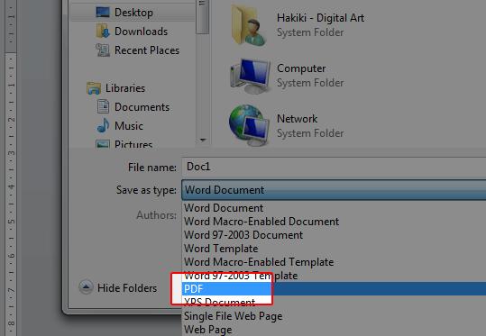 Merubah Word menjadi PDF