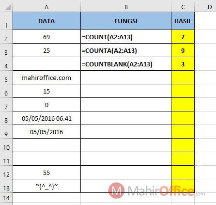 Rumus Count Counta Countblank pada Excel