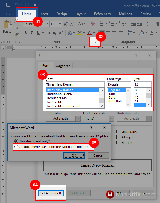 Mengatur bentuk huruf (font) dan ukurannya