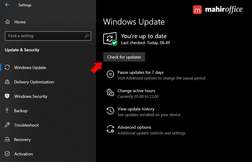 cek update pada windows 10