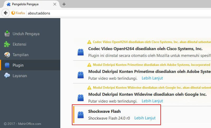 Lokasi Flash Player pada Firefox