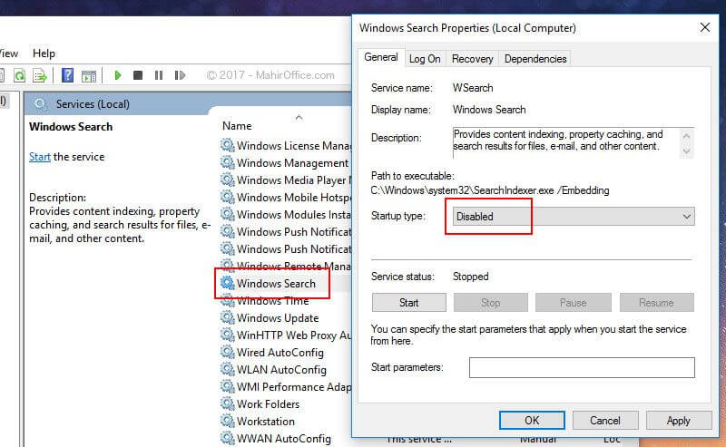 Matikan fitur Windows Search