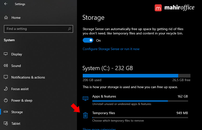 menghapus temporary files pada windows 10