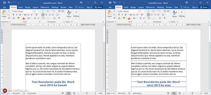 Text Boundaries pada Word