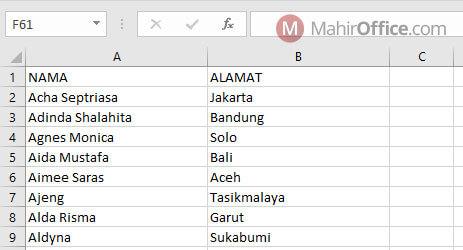 Data nama pada label undangan