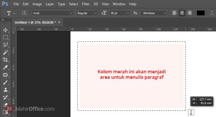 cara menulis paragraf pada photoshop