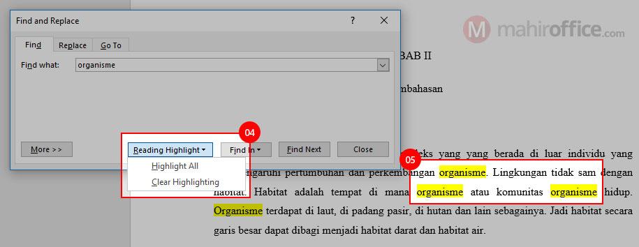 melakukan pencarian pada word