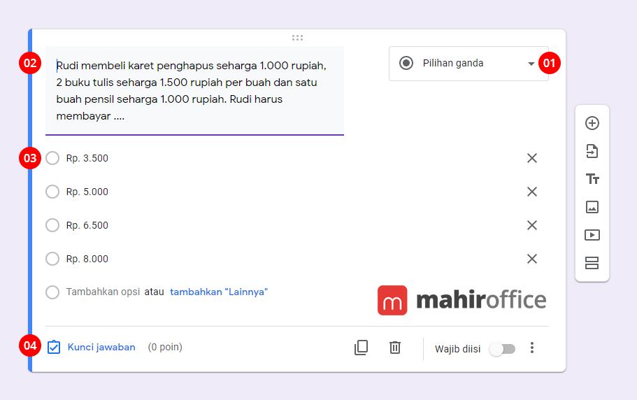 Cara membuat Pilihan Ganda pada Google Form