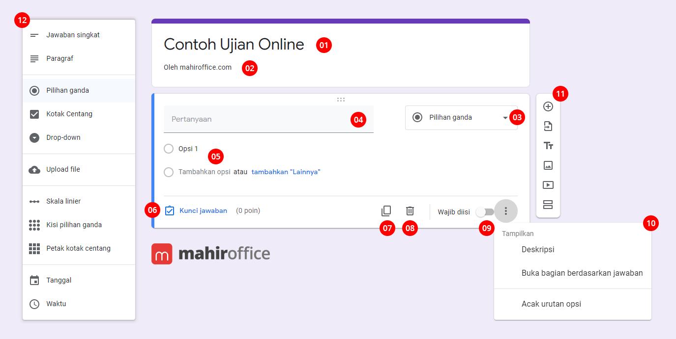 Cara membuat Soal Online menggunakan Google Form