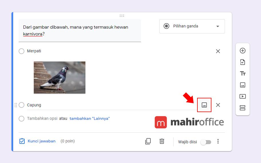 Cara menambahkan gambar pada Pilihan Ganda Google Form