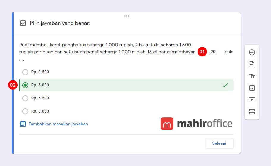 Cara mengatur jawaban benar pada Google Form