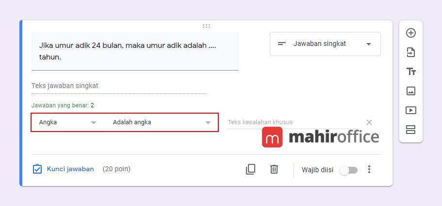 Contoh validasi angka pada Google Form