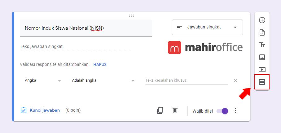 Menambahkan Bagian pada Google Form